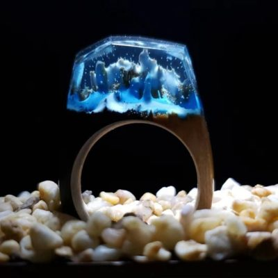 Handmade Wood Rings With Beautiful Resin Landscapes