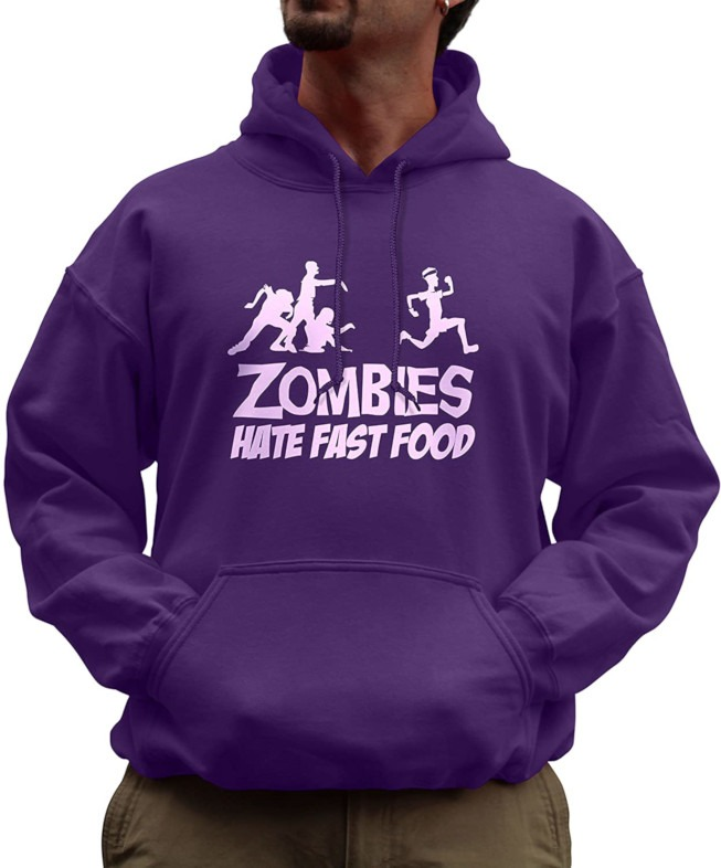 Zombies hate fast foods hoodies for guys