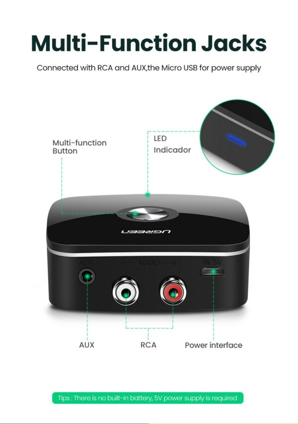 Bluetooth 5.0 Receiver With 3.5mm Audio Jack - For Converting Any Speaker To A Bluetooth Speaker