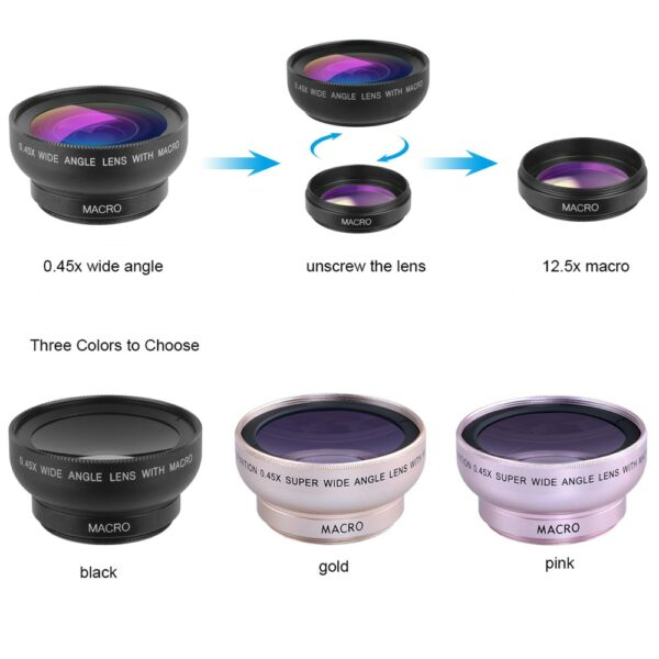 Clip-On Wide Angle And Macro Lenses For Mobile Phones And Tablets