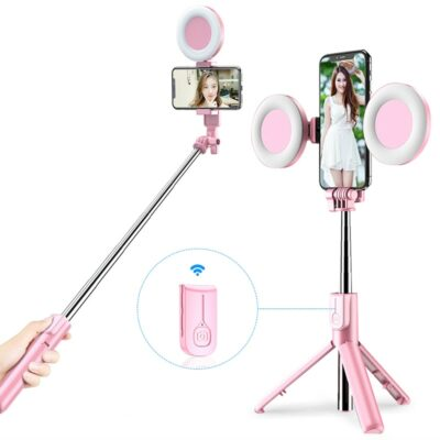 Bluetooth Selfie Stick with LED Ring Light 1