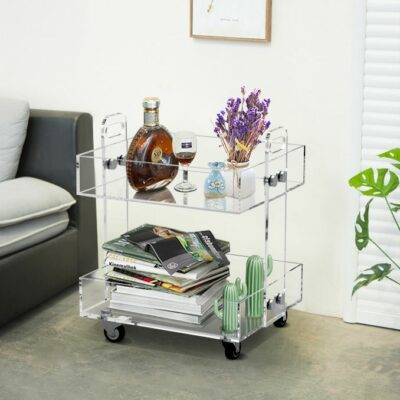 Clear Acrylic Side Table With Wheels 1