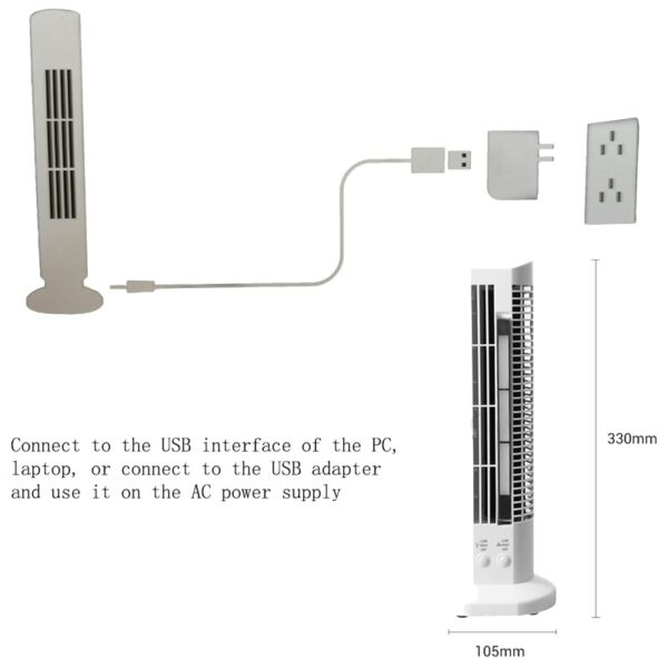 USB Tower Fan with LED Light 4
