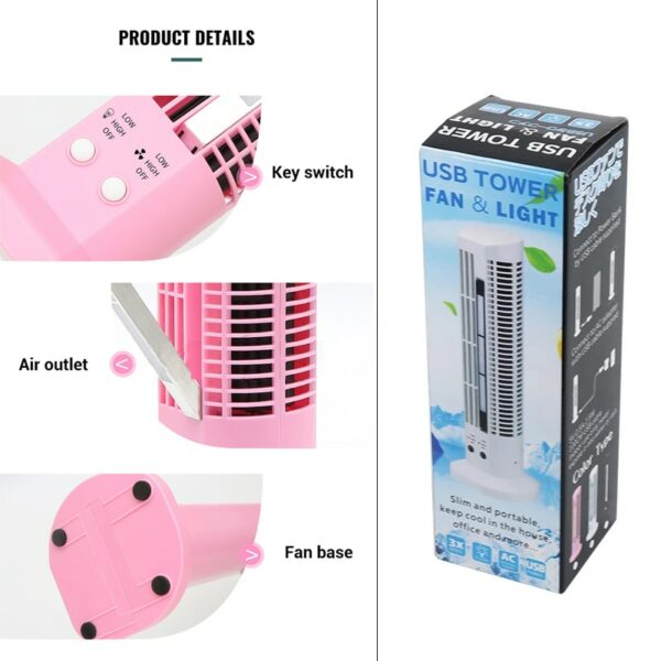 USB Tower Fan with LED Light 6