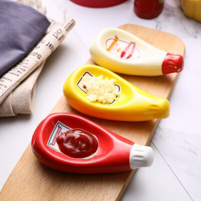 Unique Ceramic Dip Trays with Extruded Sauce Bottle Shape 1
