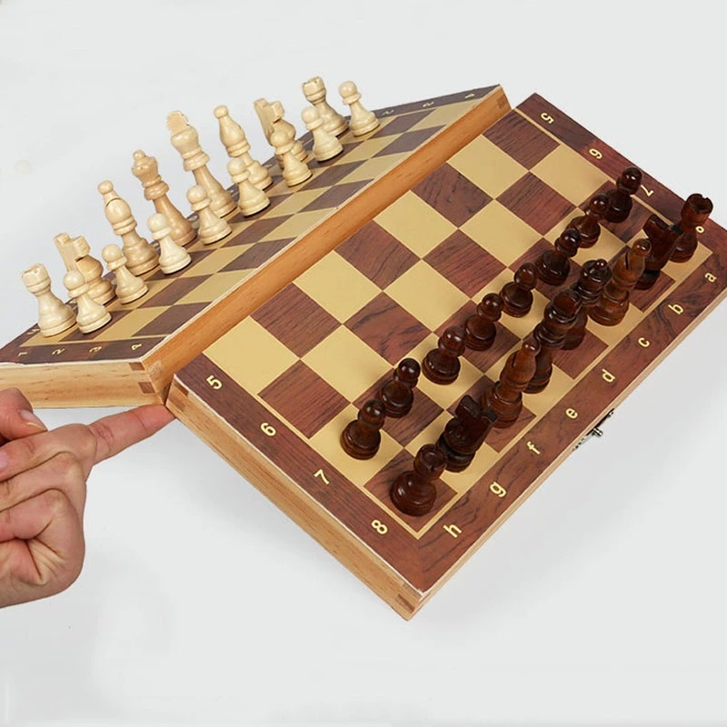 Book Style Magnetic Wooden Chess Set (11)