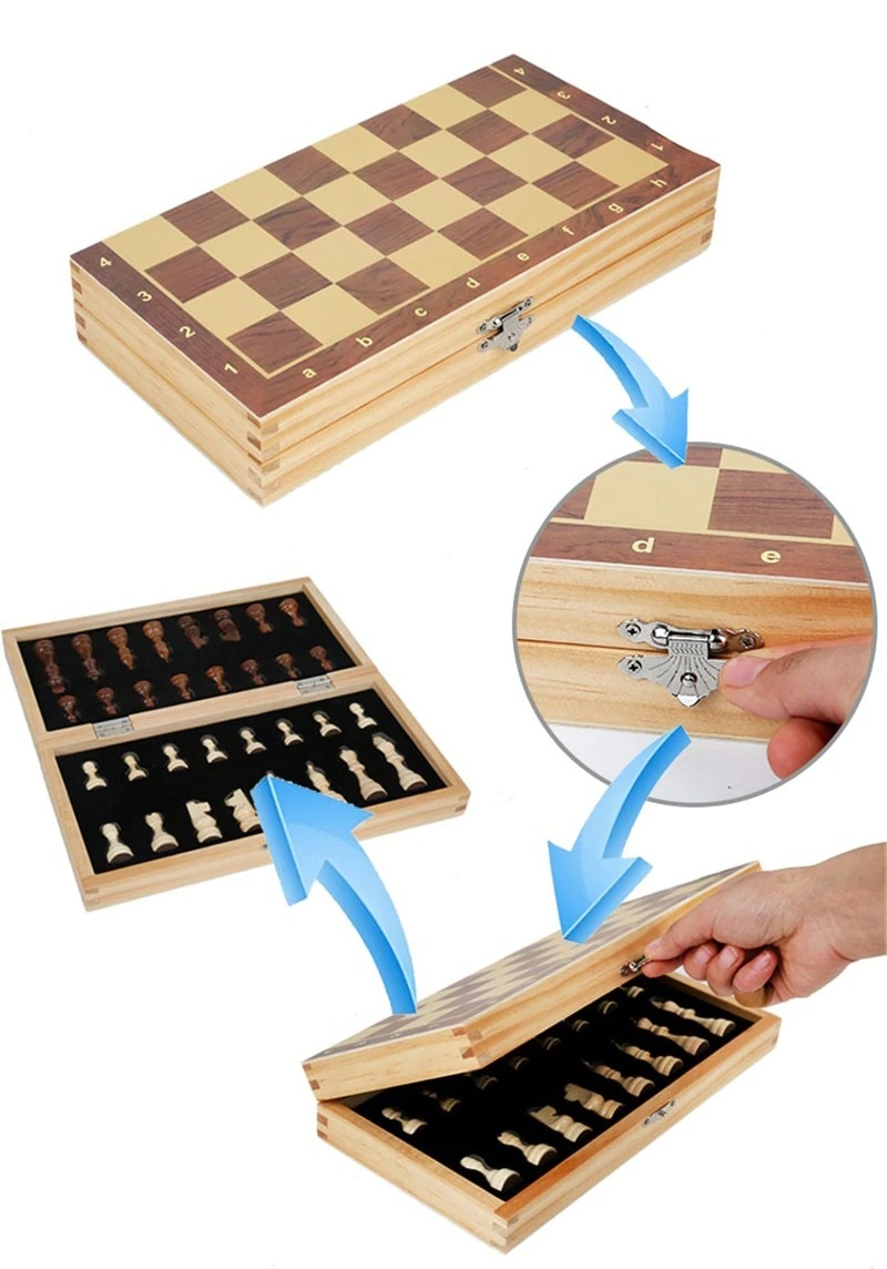 Book Style Magnetic Wooden Chess Set (8)
