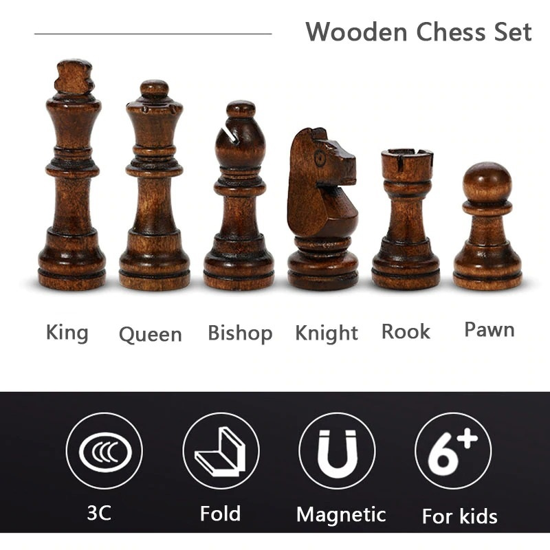 Book Style Magnetic Wooden Chess Set (9)