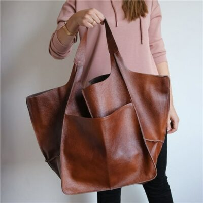 Oversized Faux Leather Tote 1